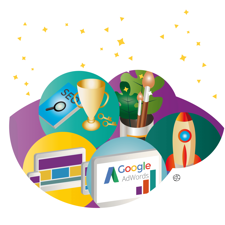 Creazione sito web, Servizio SEO, Web Marketing, Illustrazione - Stefania Tomasich